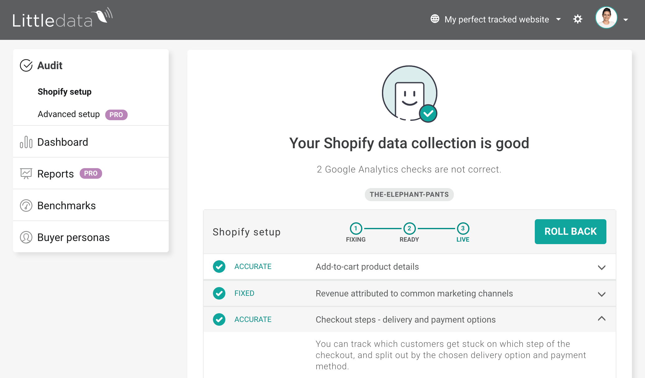 Checkout tracking for Shopify stores