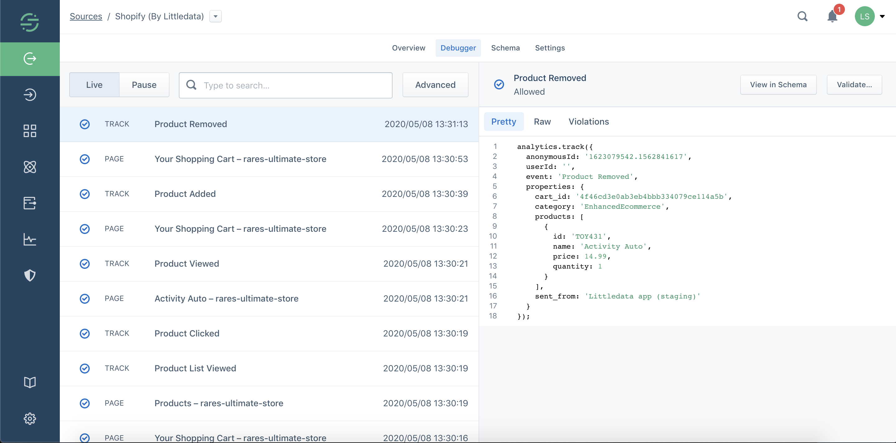 shopify to segment via Littledata