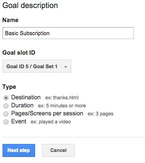 destination goal descriptive name
