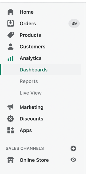 where is shopify analytics dashboard