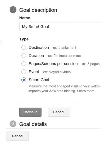 Set up smart goals in google analytics