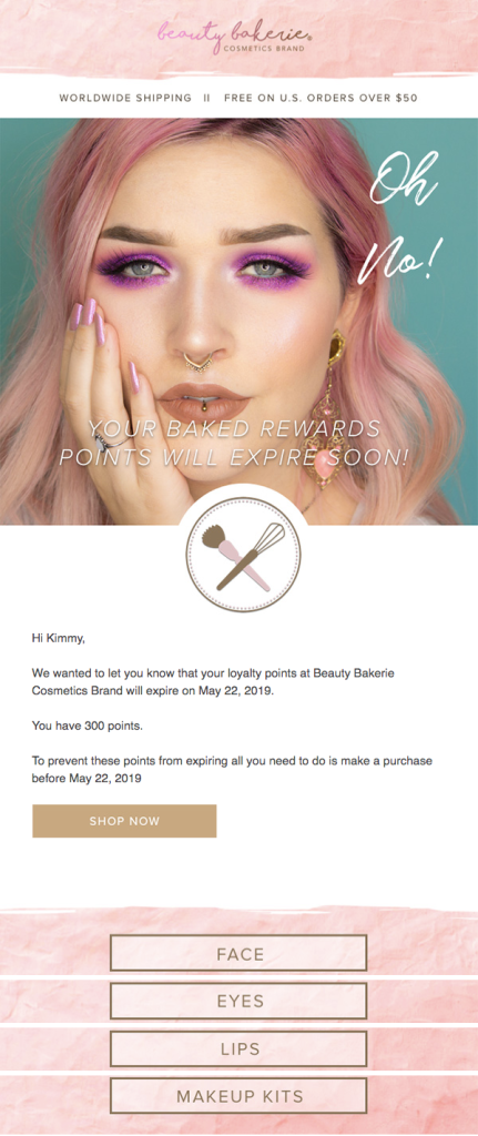 beauty bakerie customer loyalty email
