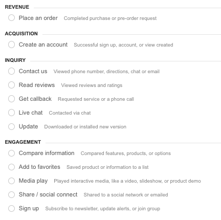 google analytics pre defined goal templates
