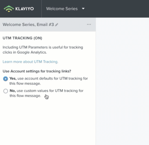 klaviyo flow email tracking with utm parameters