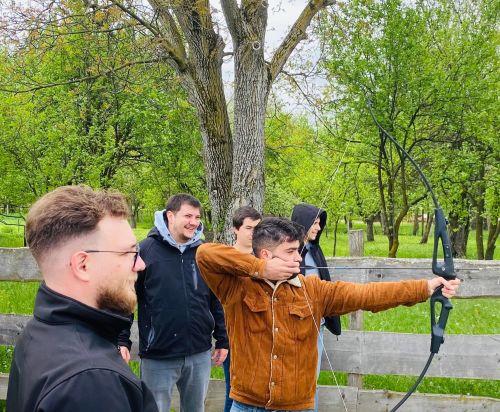 Littledata team archery at an offsite event