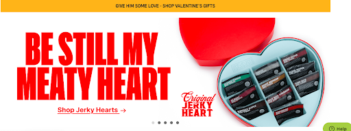 "Screenshot of Man Crate's Valentine's Day website banner with text, ""Be Still My Meaty Heart""."