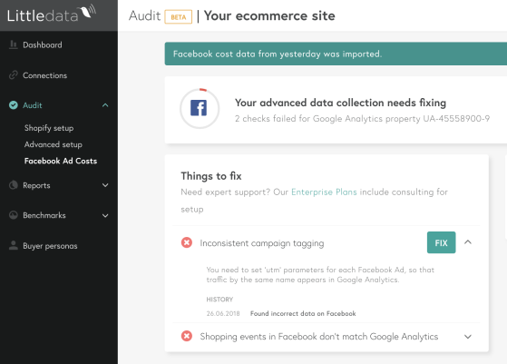 Facebook Ads analytics audit