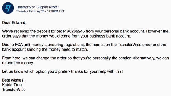 TransferWise support