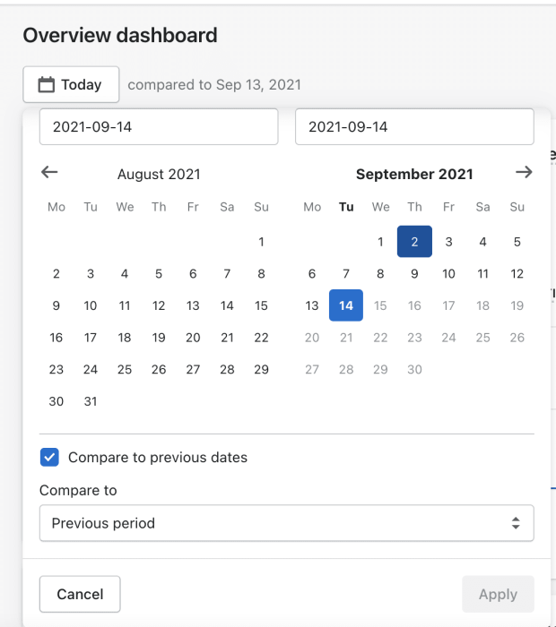 select date range shopify analytics dashboard