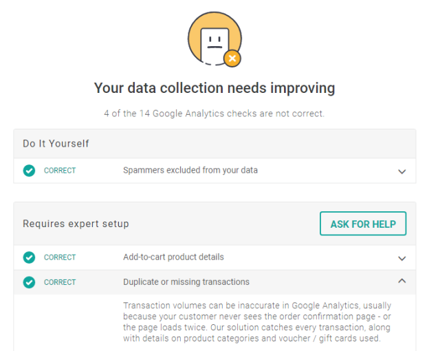 Google Analytics audit tool with automated fixes