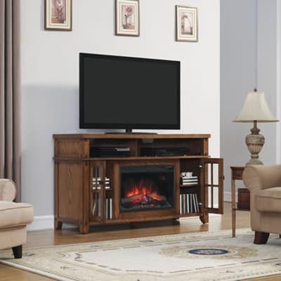 Classic Flame Dakota Electric Fireplace Media Console - Premium Oak Video  Image - Classic Flame Dakota Electric Fireplace Media Console - Premium