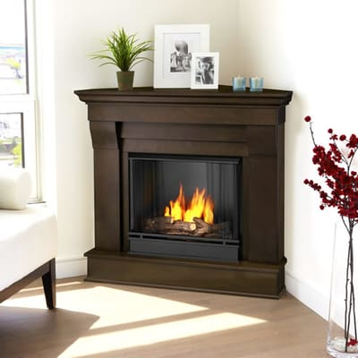 Real Flame Chateau Corner Gel Fireplace - Dark Walnut Video Image - Real Flame Chateau Corner Gel Fireplace - Dark Walnut - 5950-DW