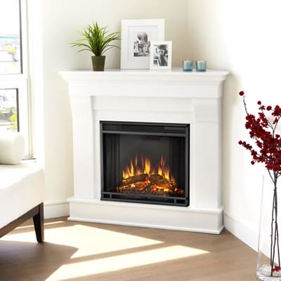 Real Flame Chateau Corner Electric Fireplace - White Video Image - Real Flame Chateau Corner Electric Fireplace - White - 5950E-W