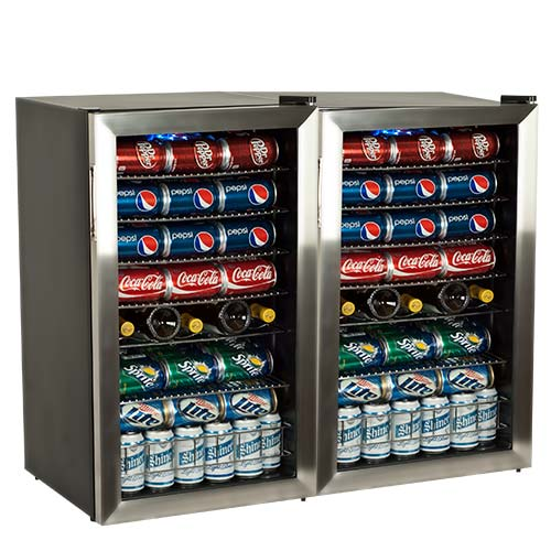 EdgeStar Beverage Refrigerator Holds 206 Cans - Side by Side Doors