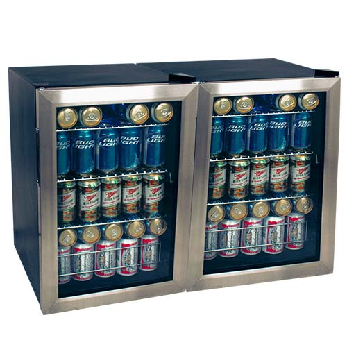 EdgeStar 168 Can Side-by-Side Beverage Cooler - BWC90SSDUAL