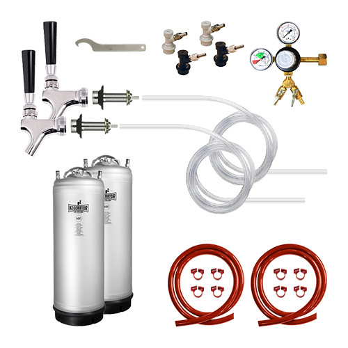 Two Keg Homebrew Door Mount Conversion Kit with New Metal Strap Kegs