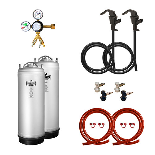 Two Keg Homebrew Conversion Kit with New Metal Strap Kegs