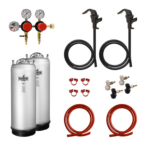 Two Keg Two Pressure Homebrew Conversion Kit with New Metal Strap Kegs