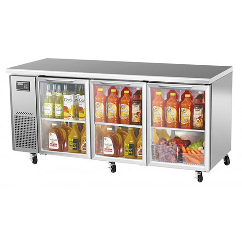 Turbo Air 72-inch Undercounter Glass Door Refrigerator