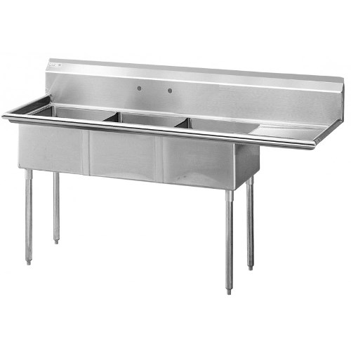 Green World 75 High Quality Stainless Steel Three-Compartment Sink