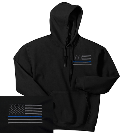 08b17cc03 NEW American Thin Blue Line Flag Embroidered Hooded Sweatshirt - Free  Shipping!