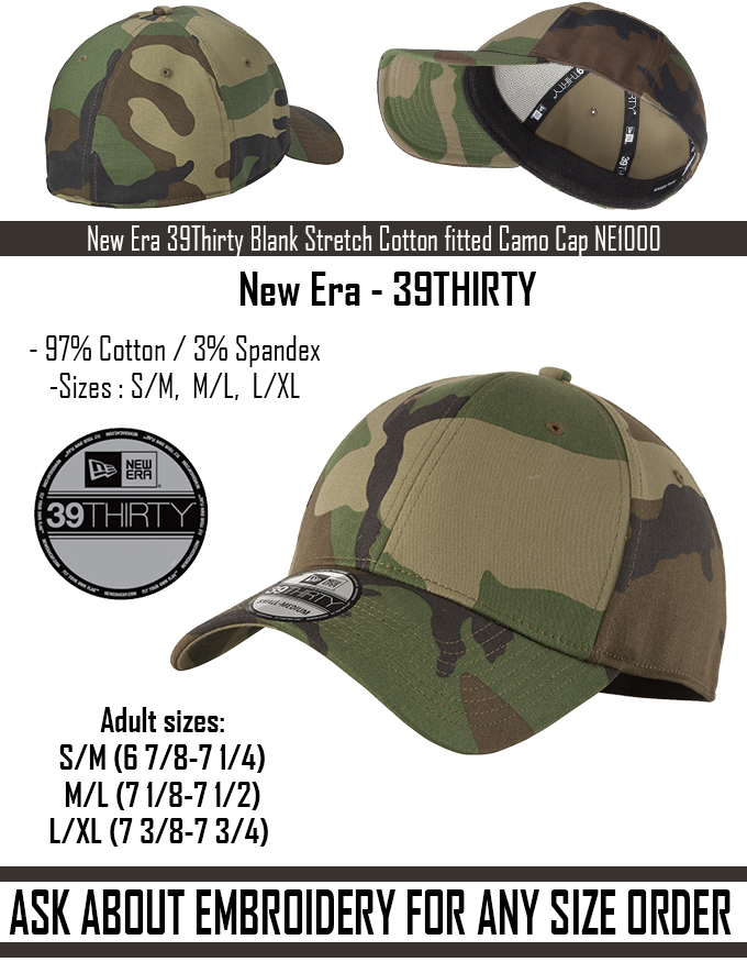 New - New Era 39Thirty Blank Stretch Cotton fitted CAMO Hat Cap - Free  Shipping 723293a57e06