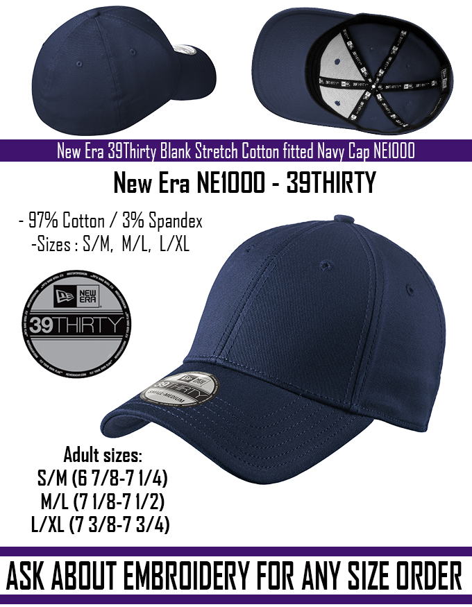 New - New Era 39Thirty Blank Stretch Cotton fitted Navy Hat Cap NE1000 -Free  Shipping 56862b6d5347