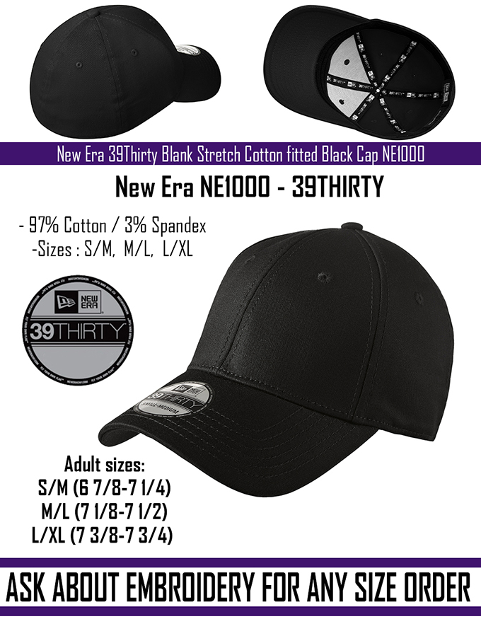 New - New Era 39Thirty Blank Stretch Cotton fitted Black Hat Cap NE1000  -Free Shipping fedc3b1a9df