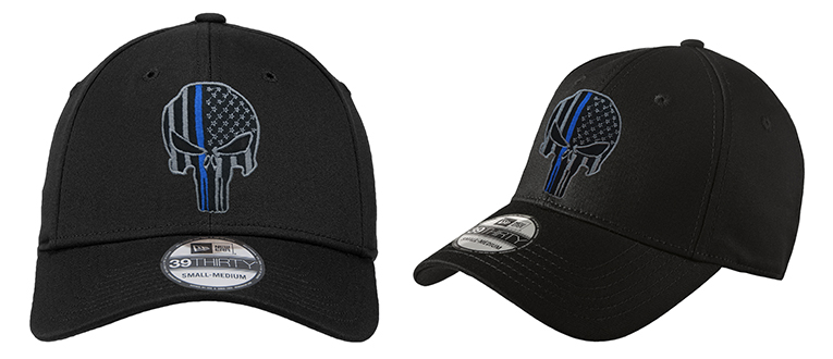 1e0d0d973 Details about NEW Punisher Thin Blue Line Flag New Era 39Thirty Black Hat -  Free Shipping!