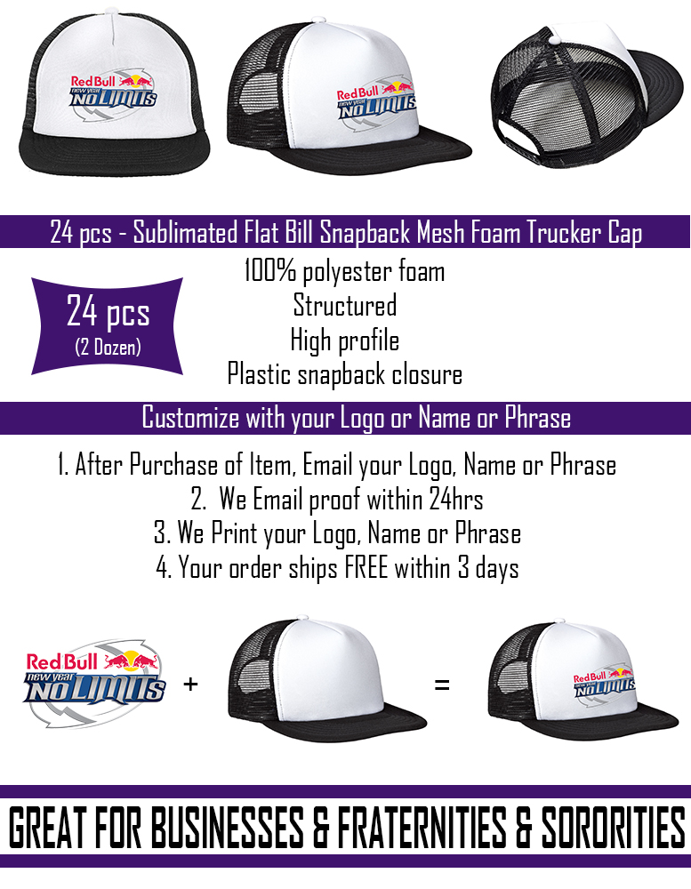 76902557ce00c 24 pcs Custom Sublimated Flat Bill Snapback Mesh Foam Trucker Hat ...