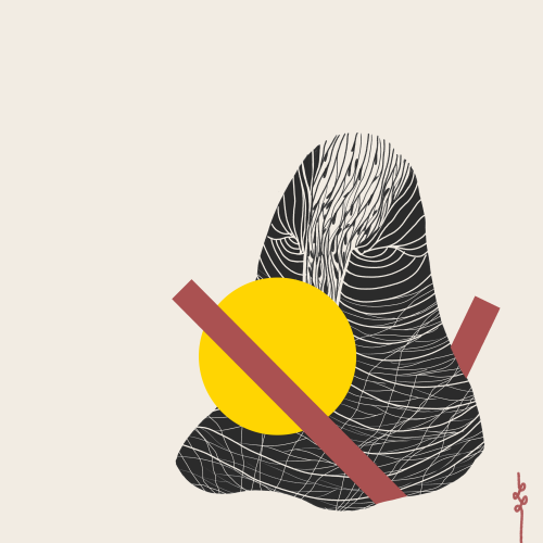 A Portrait (2019). Abstract figure with yellow circle and red lines. Medium - Digital.