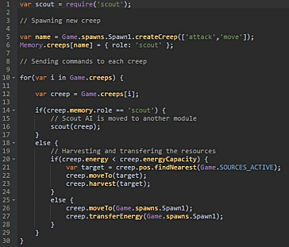 code snippet from Screeps, a programming MMO