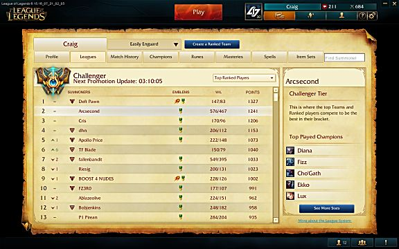 League of Legends ladder