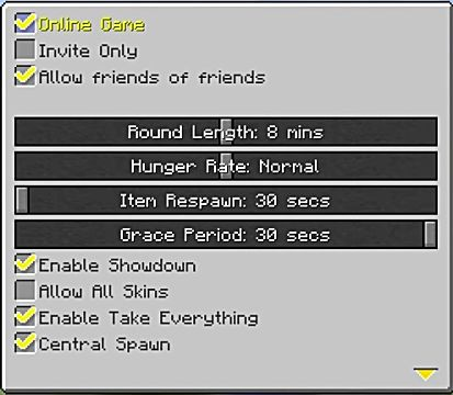 Minecraft battle menu options
