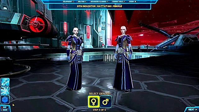 SWTOR character creation Screen