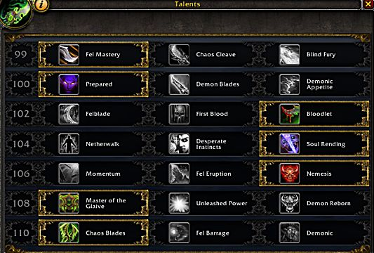 wow legion havoc demon hunter talents