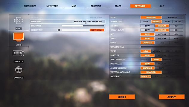 shattered skies video settings