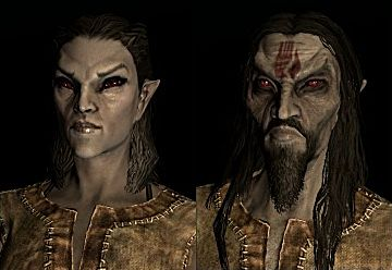 A male and female Dunmer character in Skyrim Remastered