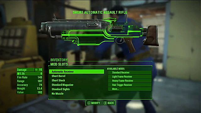 Screen on which you can add mods to the short automatic assault rifle