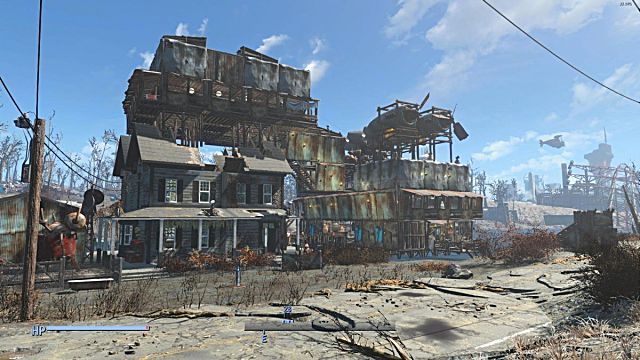 A rickety settlement in Fallout 4
