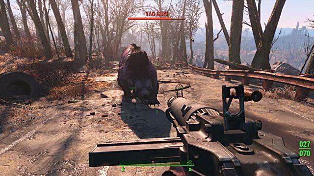 Aiming down the sights at a Yao Guai in Fallout 4