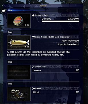 final fantasy xv fishing equipment