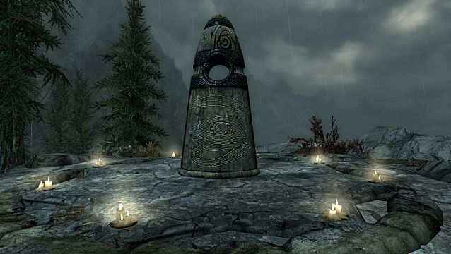 Ritual Stone surrounded by candles in The Elder Scrolls Skyrim