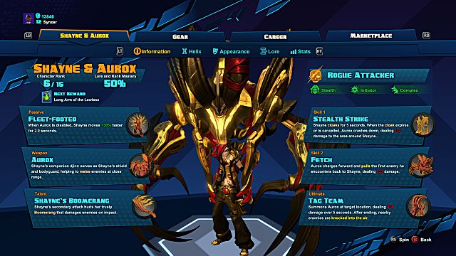 Battleborn Shayne and Aurox info