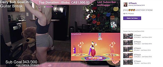 Twitch streamer STPeach dancing on cam
