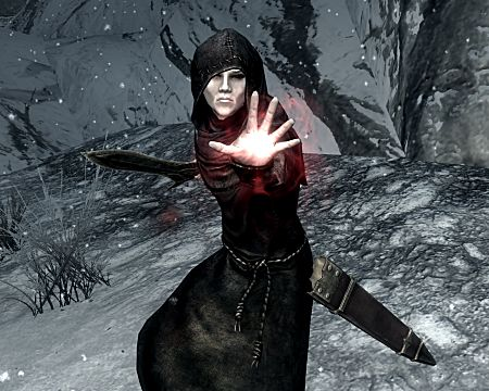 a Skyrim vampire casting a spell directly at you