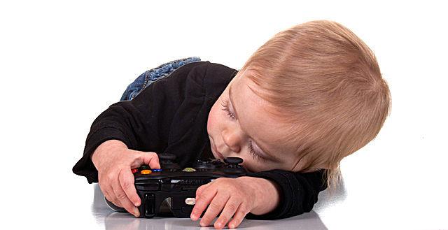 sleepy baby gamer