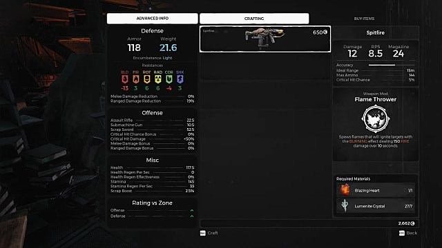 Spitfire gun information page in Remnant: From the Ashes