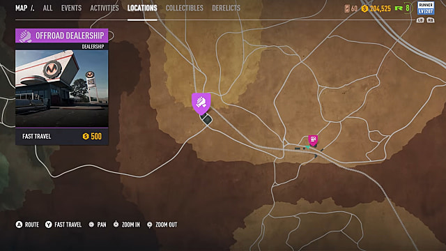 map view from Need for Speed Payback of where to find offroad dealership