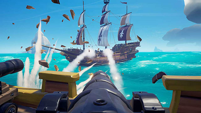 Sea of Thieves shooting cannon at broadside of ship.